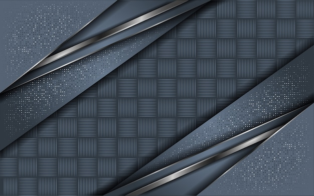 Abstracte grijze achtergrond overlappende laag met glitter Premium Vector