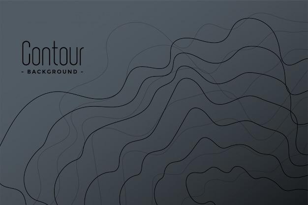 Abstracte grijze contourlijnen achtergrond Gratis Vector