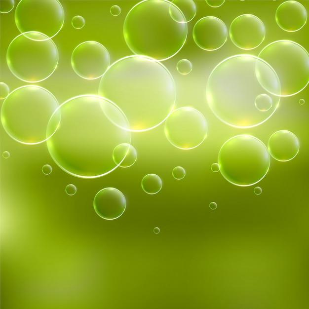 Abstracte groene achtergrond met bubbels Gratis Vector