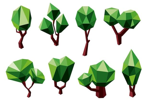 Abstracte groene bomen pictogrammen in veelhoekige stijl, geïsoleerd op wit. voor ecologie of natuurthema's ontwerp Premium Vector
