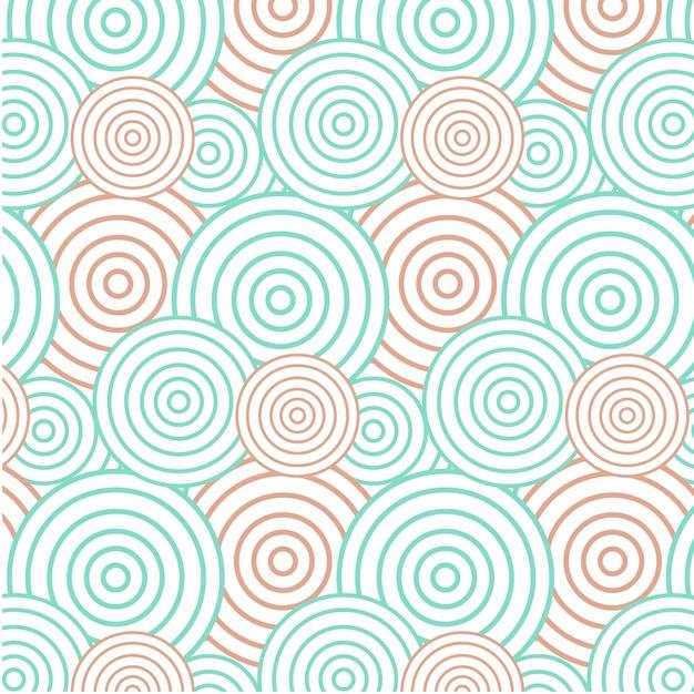 Abstracte groene en oranje cirkelachtergrond - naadloos patroon Gratis Vector