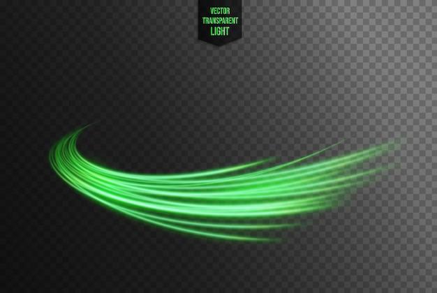 Abstracte groene golvende lijn van lichten Premium Vector