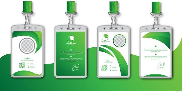 Abstracte groene identiteitskaart ontwerpsjabloon set Premium Vector