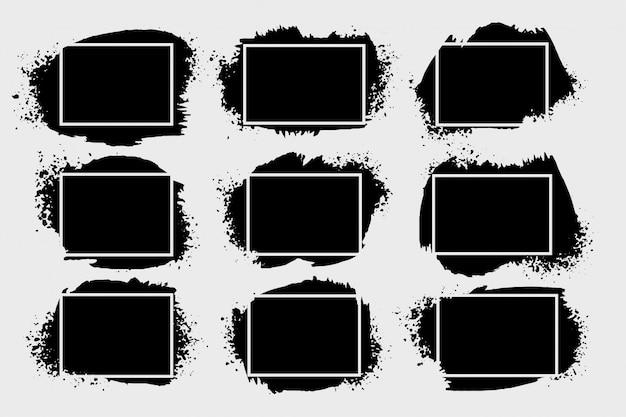 Abstracte grunge ploetert kadersreeks van negen Gratis Vector
