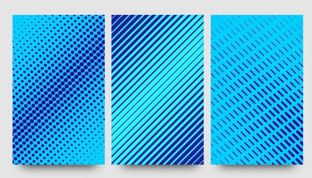 Abstracte halve patroon blauwe achtergronden Premium Vector