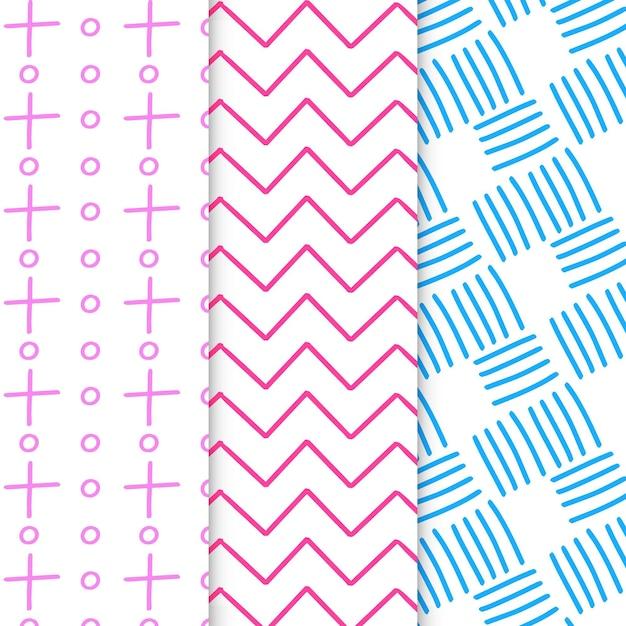 Abstracte hand getekend geometrische patronen Gratis Vector