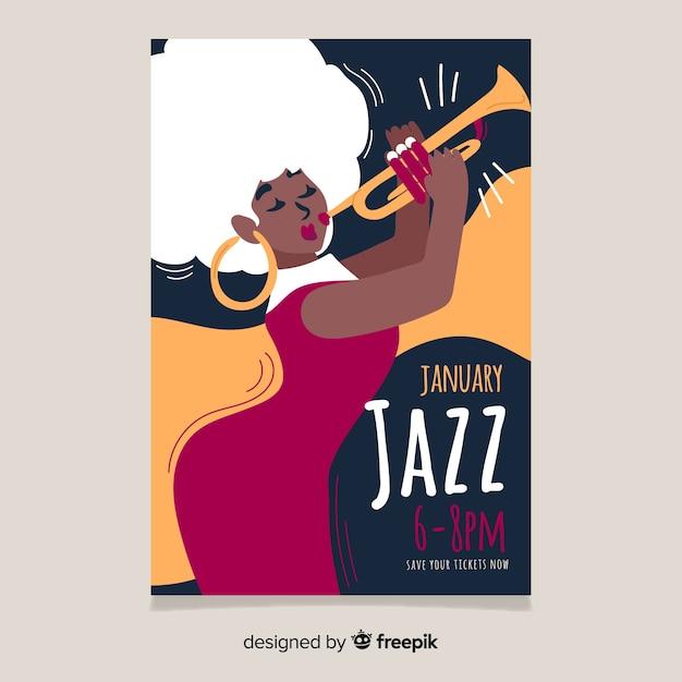 Abstracte hand getekend jazz poster sjabloon Gratis Vector