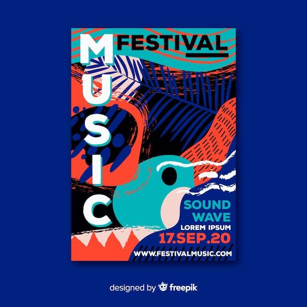 Abstracte hand getekend muziekfestival poster Gratis Vector
