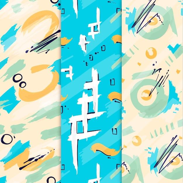 Abstracte hand getekend patroon collectie Gratis Vector