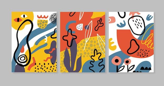 Abstracte hand getekende vormen dekken collectie Premium Vector