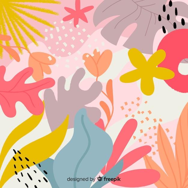 Abstracte hand getrokken bloemen en bladeren Gratis Vector