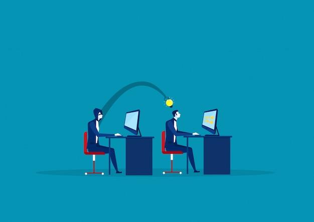 Abstracte hand steelt idee van zakenman aan zijn bureau Premium Vector