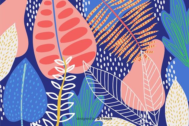 Abstracte hand tekenen florale achtergrond Gratis Vector