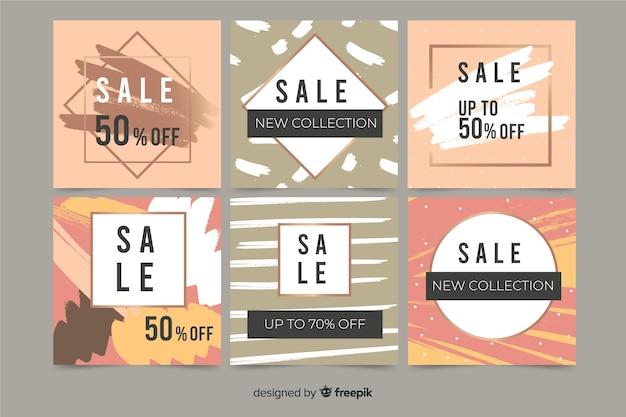 Abstracte handgeschilderde verkoop instagram postinzameling Gratis Vector