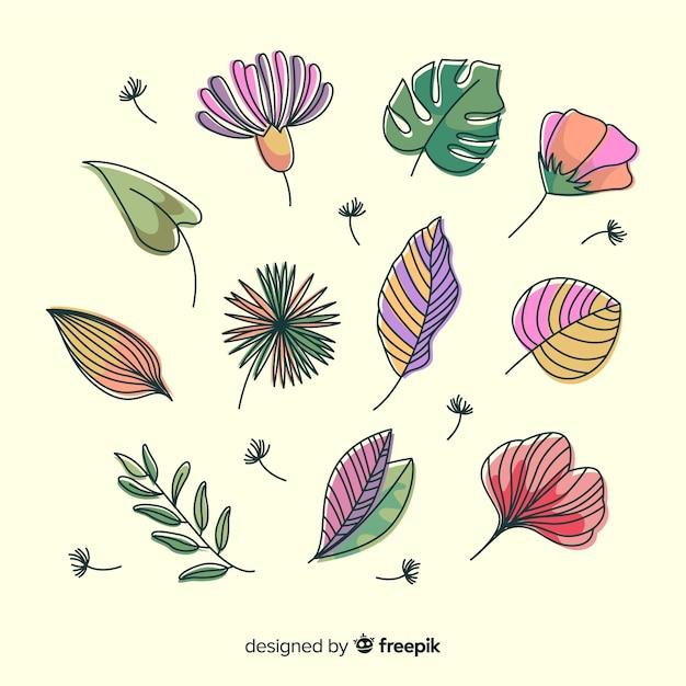Abstracte handgetekende bloemen en bladeren Gratis Vector
