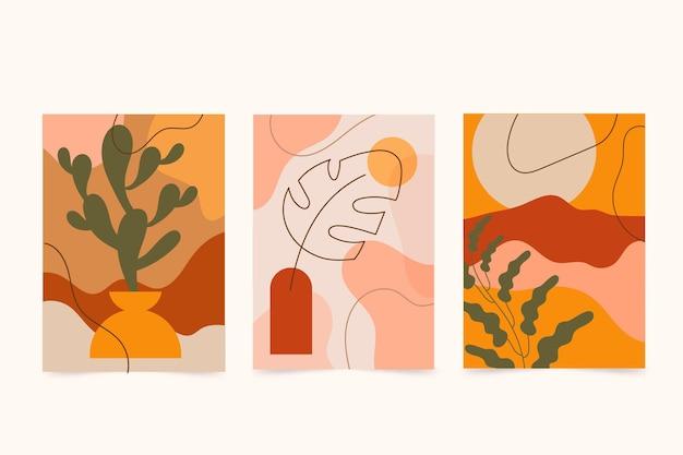 Abstracte handgetekende vormen covers Gratis Vector