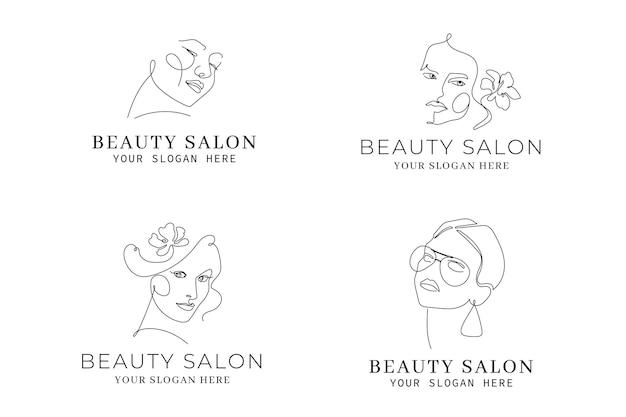 Abstracte handgetekende vrouw logo sjabloon collectie Gratis Vector