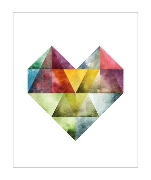 Abstracte hart waterkleur illustratie Premium Vector