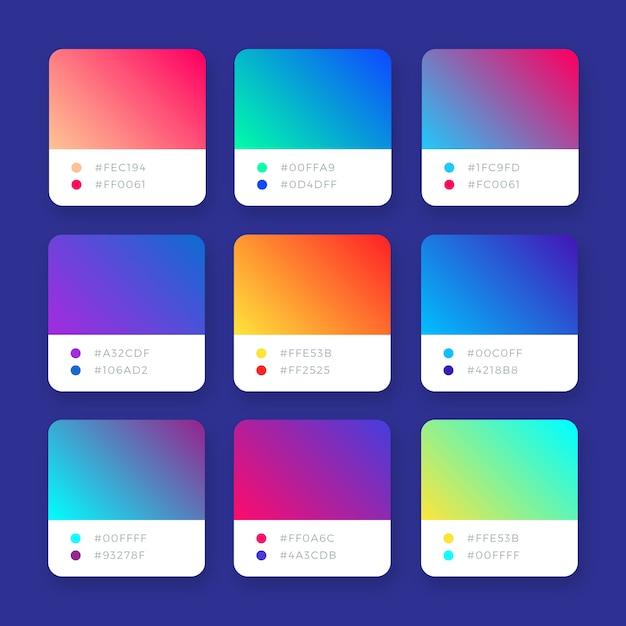 Abstracte heldere kleurrijke vectorverlopeninzameling Gratis Vector