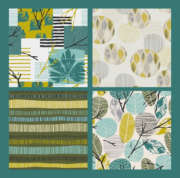 Abstracte herfst naadloze patronen met bladeren. vector achtergrond voor verschillende oppervlakte. Premium Vector