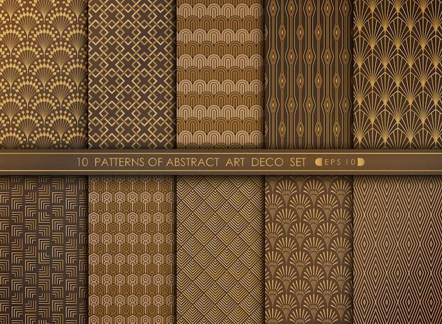 Abstracte het patroonreeks van de art decostijl van decoratieachtergrond. Premium Vector