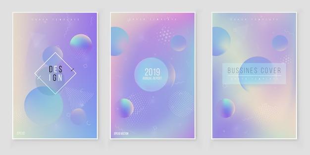 Abstracte holografische iriserende coverset moderne stijltrends 80s 90s. holografische folievector Premium Vector