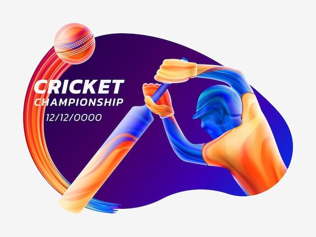 Abstracte illustratie van batsman cricket spelen van gekleurde vloeistof spatten Premium Vector