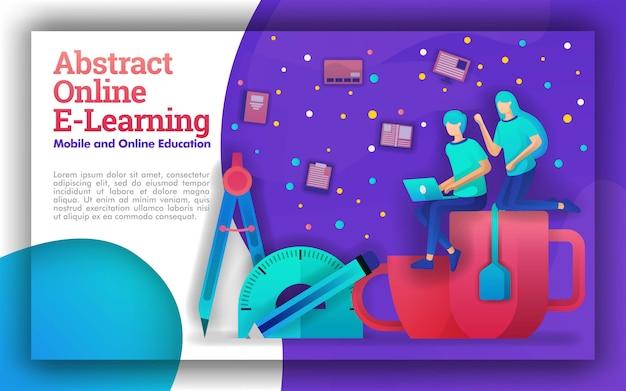 Abstracte illustratie van online leren of e-learning Premium Vector