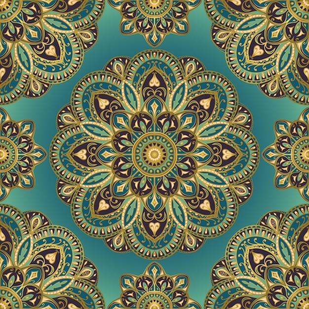 Abstracte indiase patroon met mandala. Premium Vector