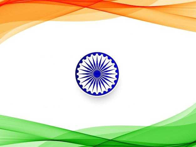 Abstracte indiase vlag golvende achtergrond Gratis Vector