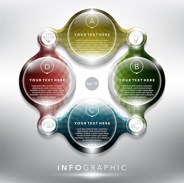 Abstracte info afbeelding met cirkel elementen. 4-delig concept. Premium Vector