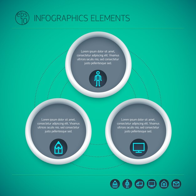Abstracte infographic elementen met cirkels tekst drie opties en pictogrammen op groene achtergrond geïsoleerd Gratis Vector