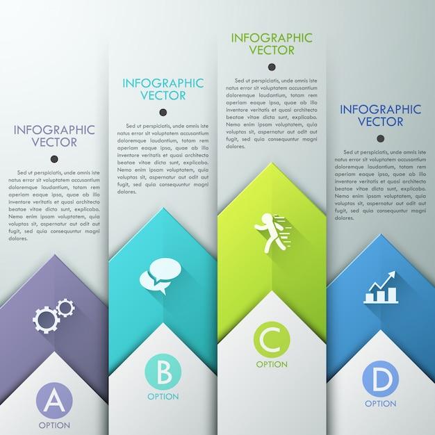 Abstracte infographics sjabloonontwerp met papier pijlen Premium Vector