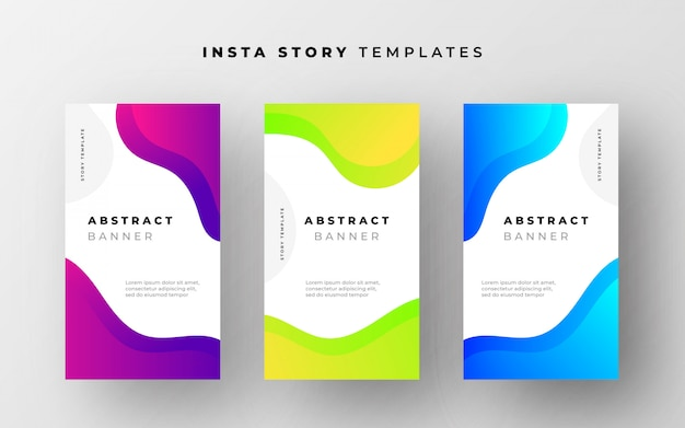 Abstracte instagram verhaalsjablonen met vloeiende vormen Gratis Vector