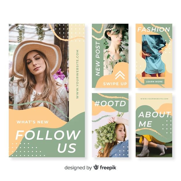 Abstracte instagram verhalen sjabloon Gratis Vector
