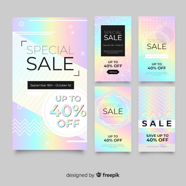 Abstracte instagram verkoop verhaal collectie Gratis Vector