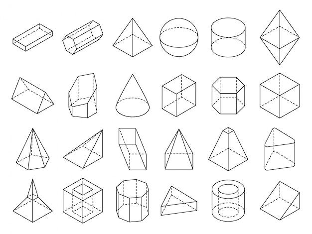 Abstracte isometrische 3d geometrische omtrek vormen set Premium Vector