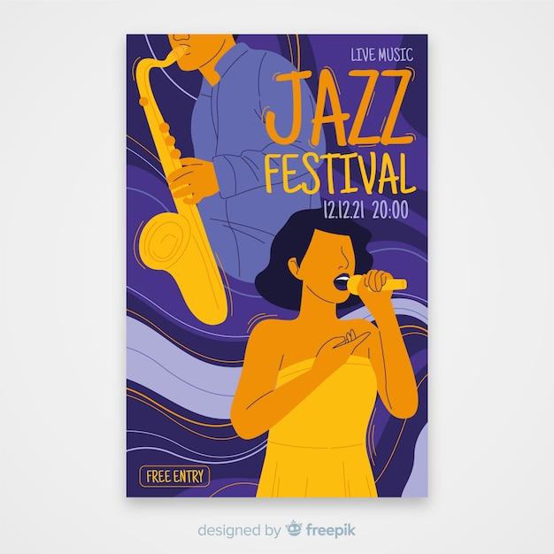 Abstracte jazz muziek poster sjabloon Gratis Vector