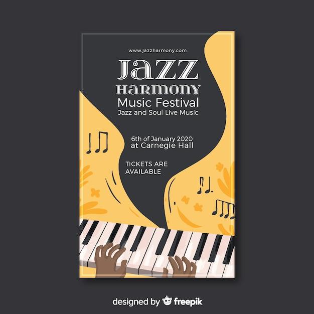 Abstracte jazz-poster in handgetekende stijl Gratis Vector