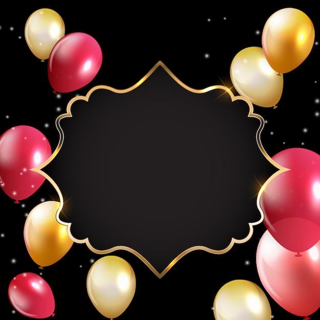 Abstracte kaart met gouden frame en ballonnen Premium Vector