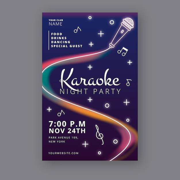 Abstracte karaoke nacht partij poster sjabloon Gratis Vector