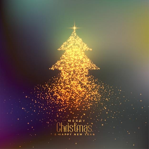 Abstracte kerstboom gemaakt met deeltjes achtergrond Gratis Vector