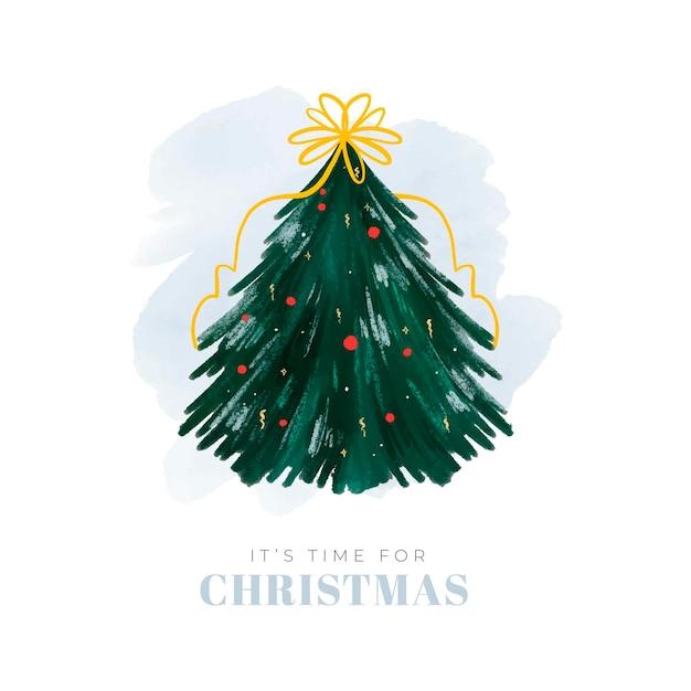 Abstracte kerstboom illustratie met lint en bollen Gratis Vector