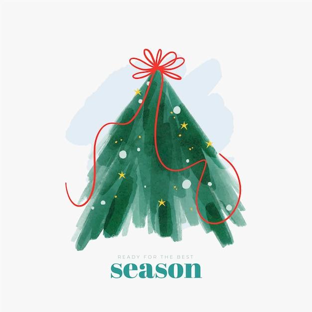 Abstracte kerstboom illustratie met lint Gratis Vector
