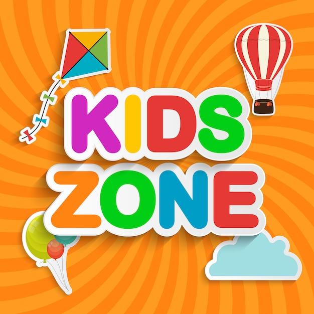 Abstracte kids zone op oranje achtergrond. illustratie Premium Vector