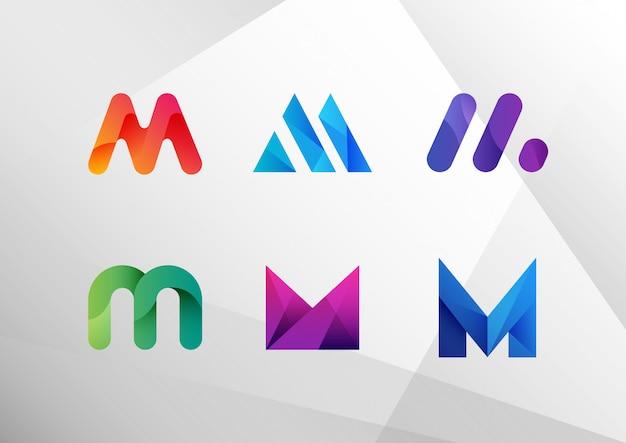 Abstracte kleurovergang letter m set Premium Vector