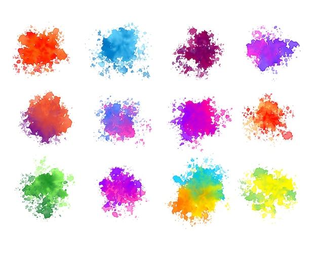 Abstracte kleurrijke aquarel splatters set van twaalf Gratis Vector