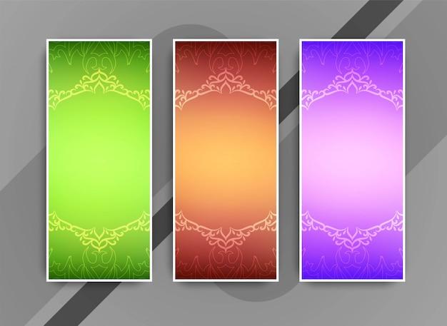 Abstracte kleurrijke artistieke bedrijf geplaatste banners Gratis Vector