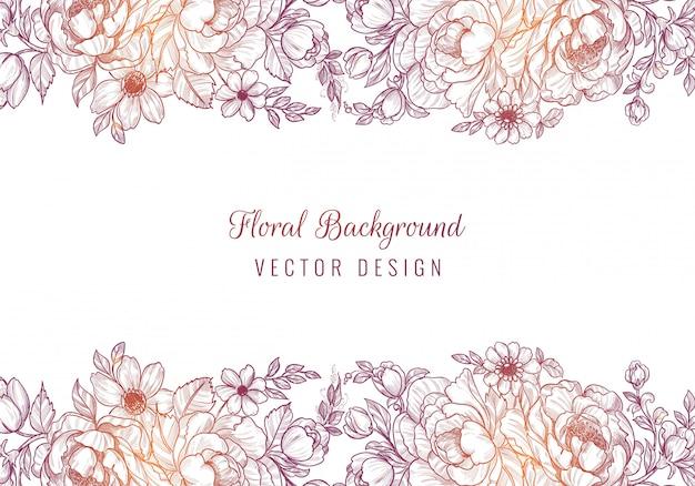 Abstracte kleurrijke bloemen tekenen en schetsen achtergrond Gratis Vector