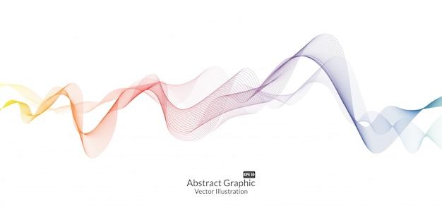 Abstracte kleurrijke golflijnen die op witte achtergrond worden geïsoleerd Premium Vector